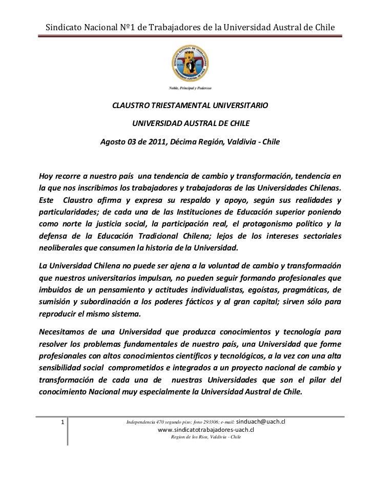 Sindicato Nacional Nº1 de Trabajadores de la Universidad Austral de Chile                     CLAUSTRO TRIESTAMENTAL UNIVE...