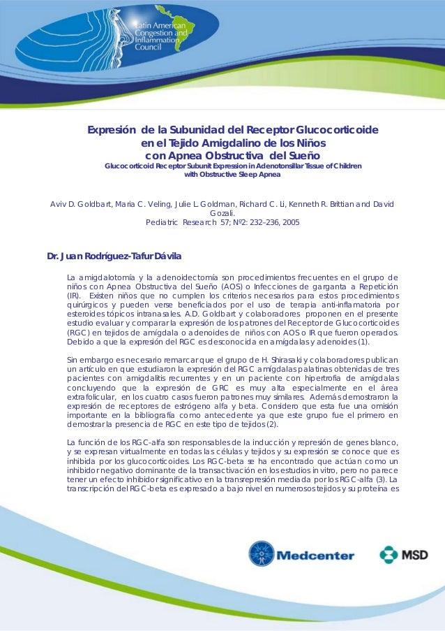 Expresión de la Subunidad del Receptor Glucocorticoide en el Tejido Amigdalino de los Niños con Apnea Obstructiva del Sueñ...