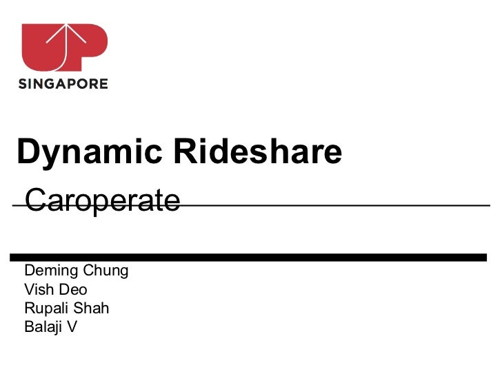 Dynamic RideshareCaroperateDeming ChungVish DeoRupali ShahBalaji V