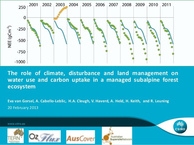 Eva van Gorsel_The role of climate, disturbance and land management on water use and carbon uptake in a managed subalpine forest ecosystem