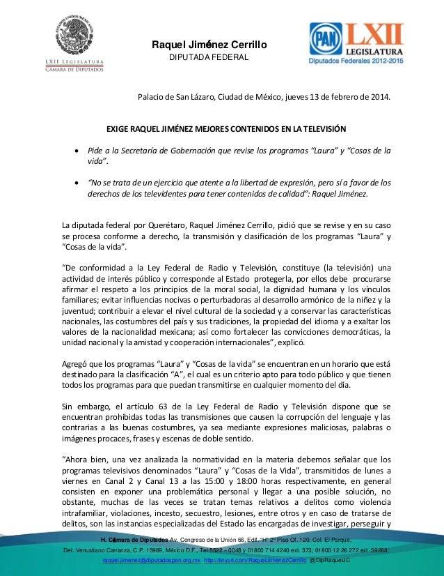 Del. Venustiano  Raquel Jiménez Cerrillo DIPUTADA FEDERAL  Palacio de San Lázaro, Ciudad de México, jueves 13 de febrero d...