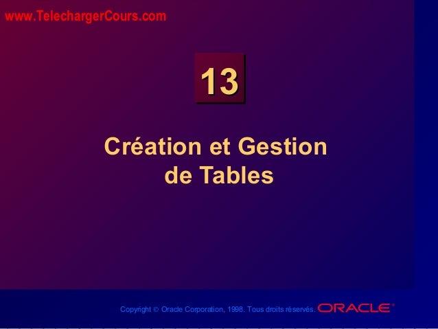Copyright © Oracle Corporation, 1998. Tous droits réservés. 1313 Création et Gestion de Tables www.TelechargerCours.com