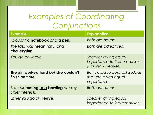 articles and conjunctions examples