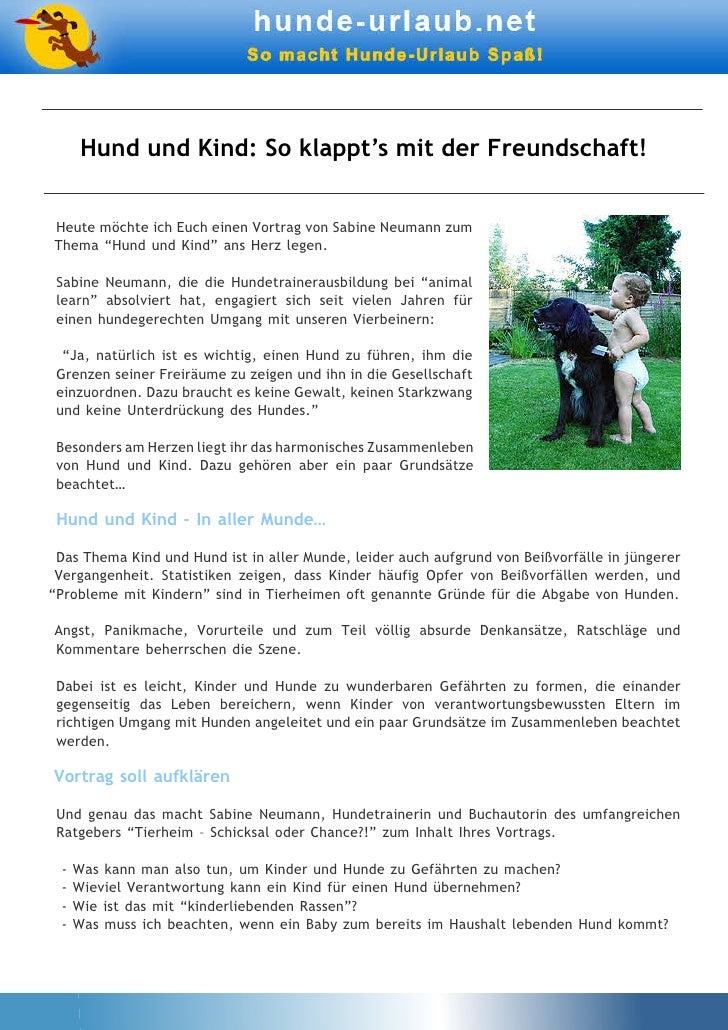 """Hund und Kind: So klappt's mit der Freundschaft!Heute möchte ich Euch einen Vortrag von Sabine Neumann zumThema """"Hund und ..."""