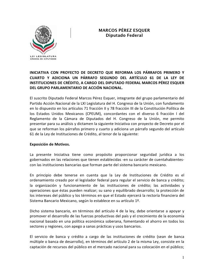 MARCOS PÉREZ ESQUER                                            Diputado FederalINICIATIVA CON PROYECTO DE DECRETO QUE REFO...