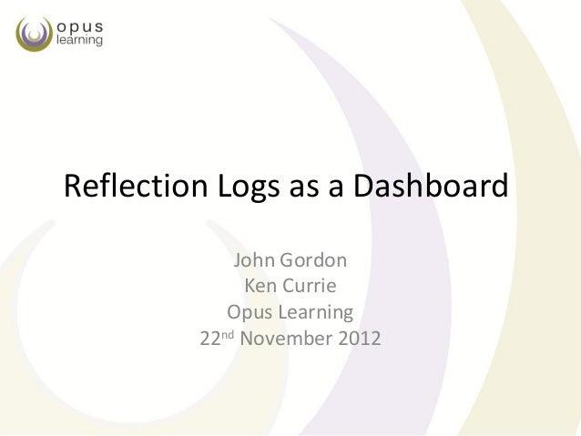 Reflection Logs as a Dashboard             John Gordon              Ken Currie            Opus Learning         22nd Novem...