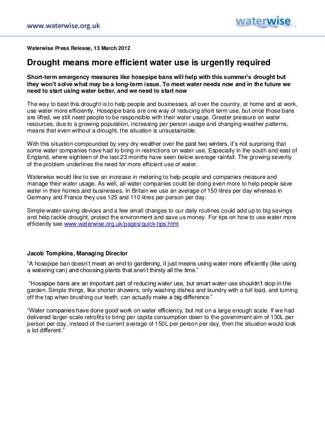www.waterwise.org.ukWaterwise Press Release, 13 March 2012Drought means more efficient water use is urgently requiredShort...