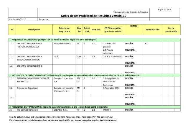 13 matriz de rastreabilidad de requisitos pmi for Ejemplo proyecto completo pmbok