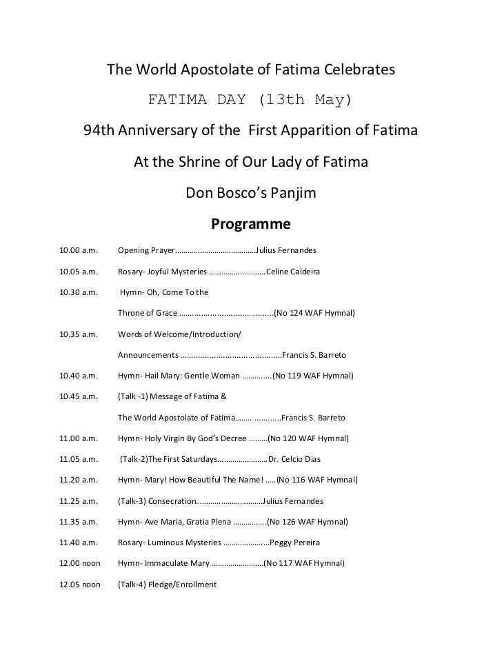 The World Apostolate of Fatima Celebrates<br />FATIMA DAY (13th May)<br />94th Anniversary of the  First Apparition of Fat...
