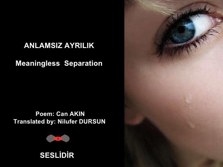 ANLAMSIZ AYRILIK Meaningless Separation SESLİDİR Poem: Can AKIN Translated by: Nilufer DURSUN