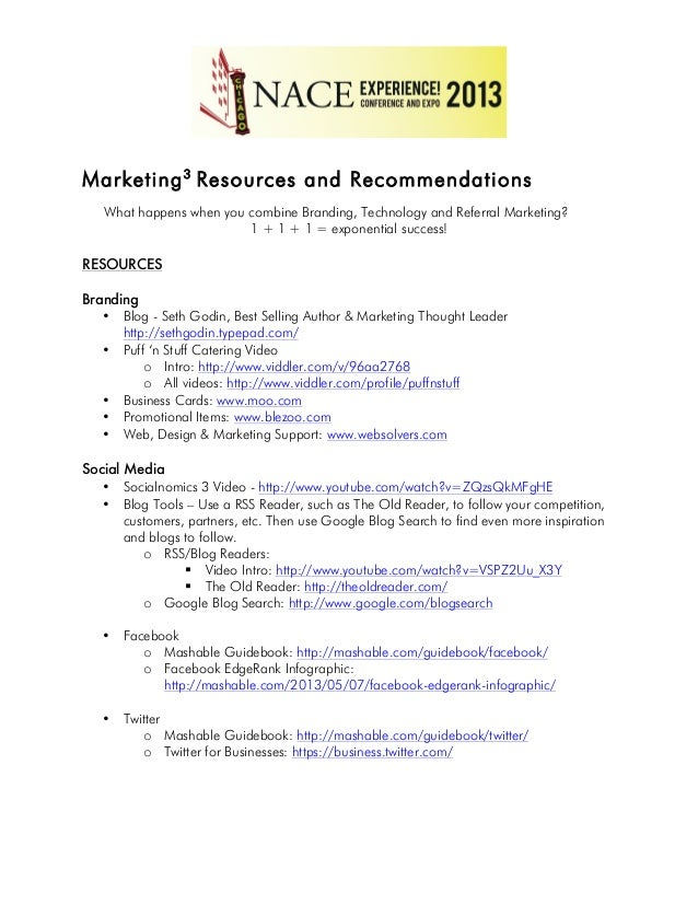 Marketing3 Resources and Recommendations What happens when you combine Branding, Technology and Referral Marketing? 1 + 1 ...