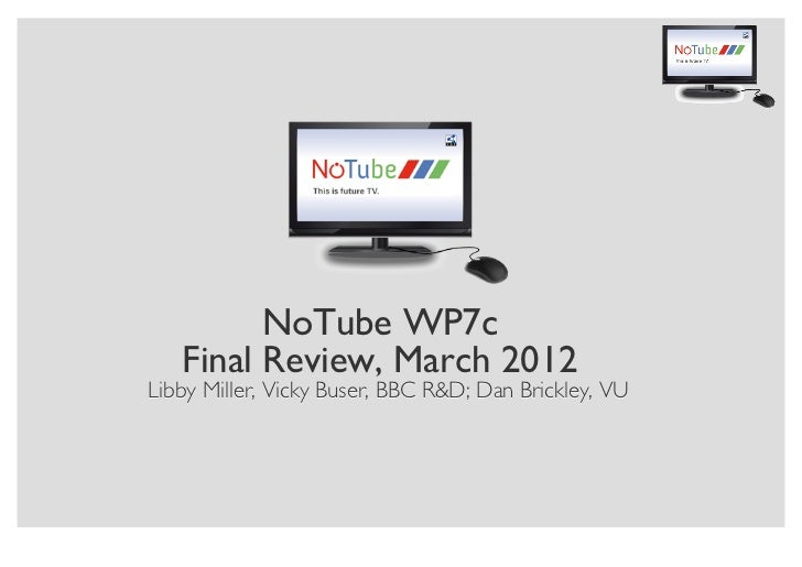 NoTube WP7c   Final Review, March 2012Libby Miller, Vicky Buser, BBC R&D; Dan Brickley, VU