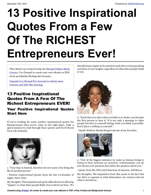 13 Positive Inspirational Quotes From a Few Of The RICHEST Entrepreneurs Ever!