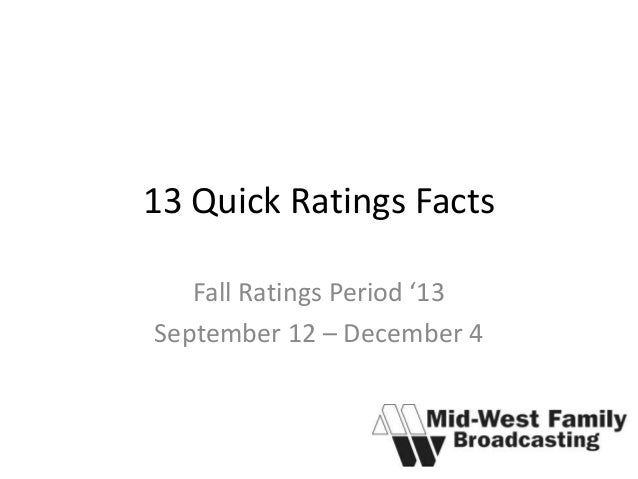 13 Quick Ratings Facts Fall Ratings Period '13 September 12 – December 4