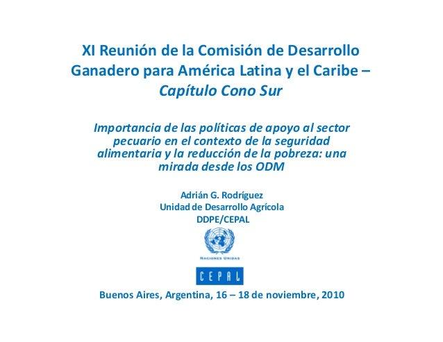 Importancia de las políticas de apoyo al sector pecuario en el contexto de la seguridad alimentaria y la reducción de la pobreza: una mirada al cumplimiento de los ODM en América Latina