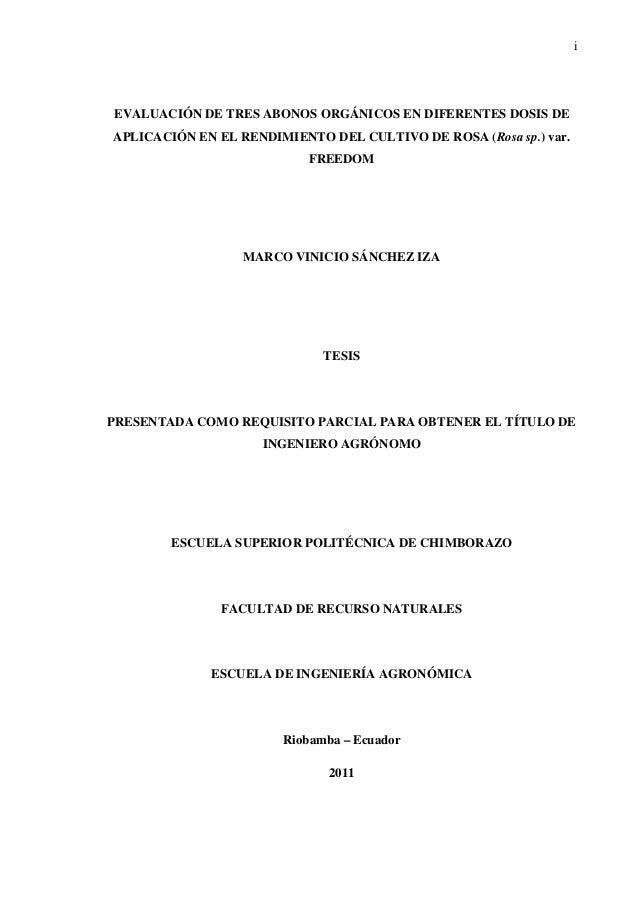 i EVALUACIÓN DE TRES ABONOS ORGÁNICOS EN DIFERENTES DOSIS DE APLICACIÓN EN EL RENDIMIENTO DEL CULTIVO DE ROSA (Rosa sp.) v...