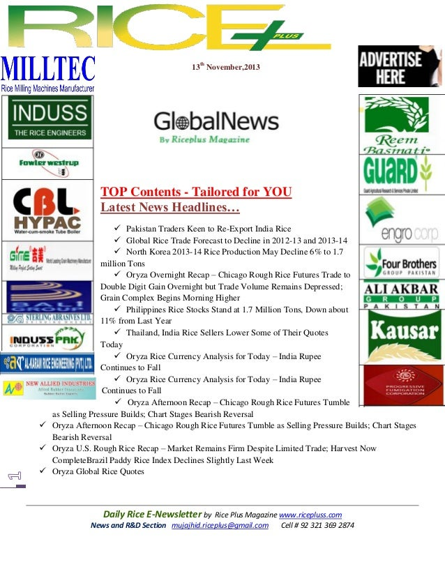 13th November,2013  TOP Contents - Tailored for YOU Latest News Headlines…  Pakistan Traders Keen to Re-Export India Rice...