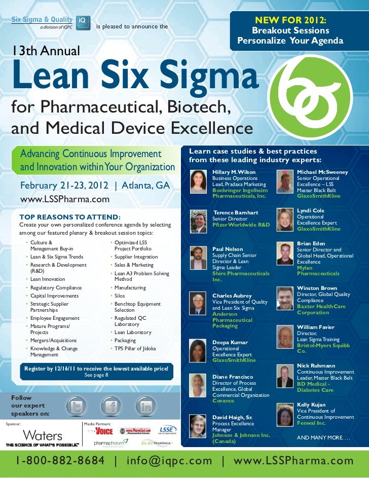 13th Annual Lean Six Sigma For Pharmaceutical, Biotech And Medical Device Excellence