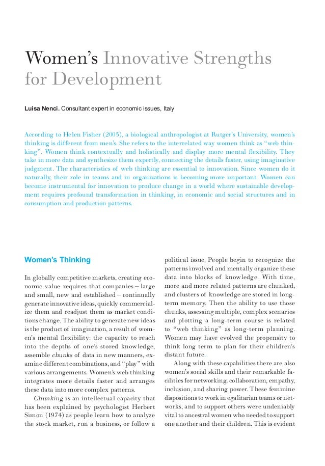 Women's ThinkingIn globally competitive markets, creating eco-nomic value requires that companies – largeand small, new an...