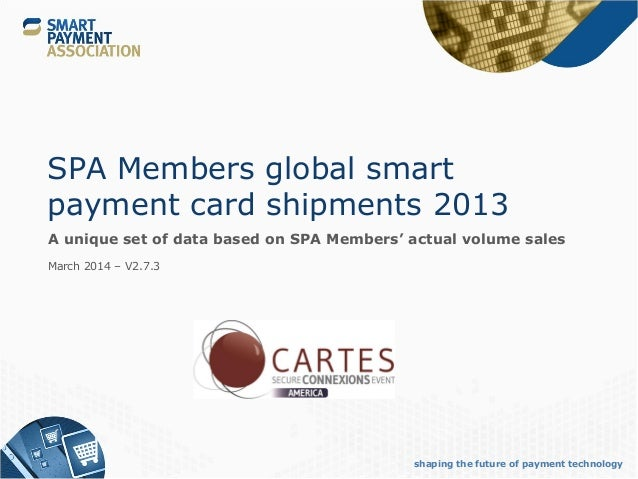 shaping the future of payment technology SPA Members global smart payment card shipments 2013 A unique set of data based o...
