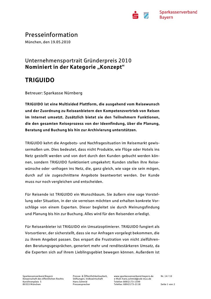 """Presseinformation  München, den 19.05.2010  Unternehmensportrait Gründerpreis 2010  Nominiert in der Kategorie """"Konzept""""  ..."""