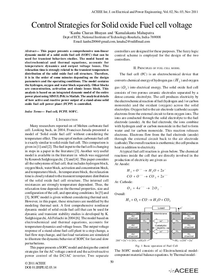 ACEEE Int. J. on Electrical and Power Engineering, Vol. 02, No. 03, Nov 2011     Control Strategies for Solid oxide Fuel c...