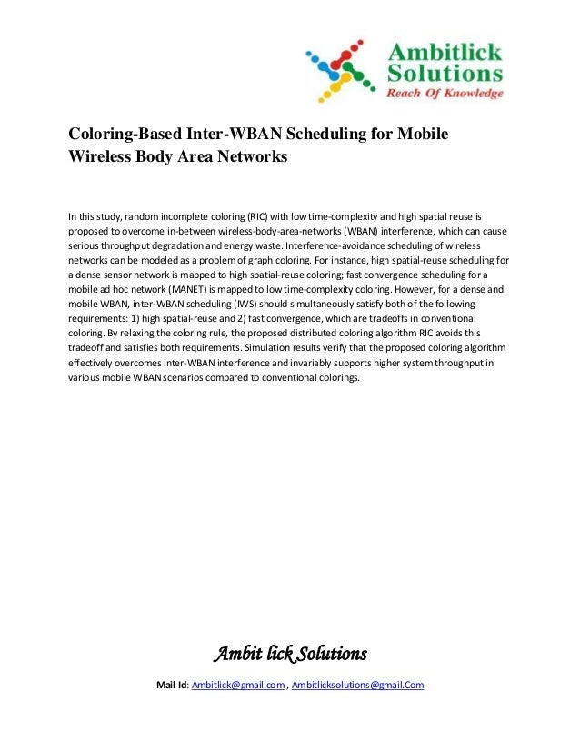 Coloring based inter-wban scheduling for mobile wireless body area networks