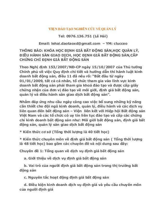 Học định giá bất động sản tại Hà Nội,Tphcm,Đà Nẵng mới nhất