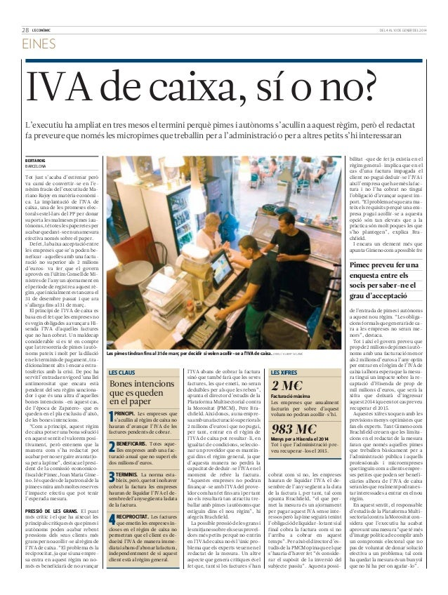 Iva de caja, sí o no (L'economic)