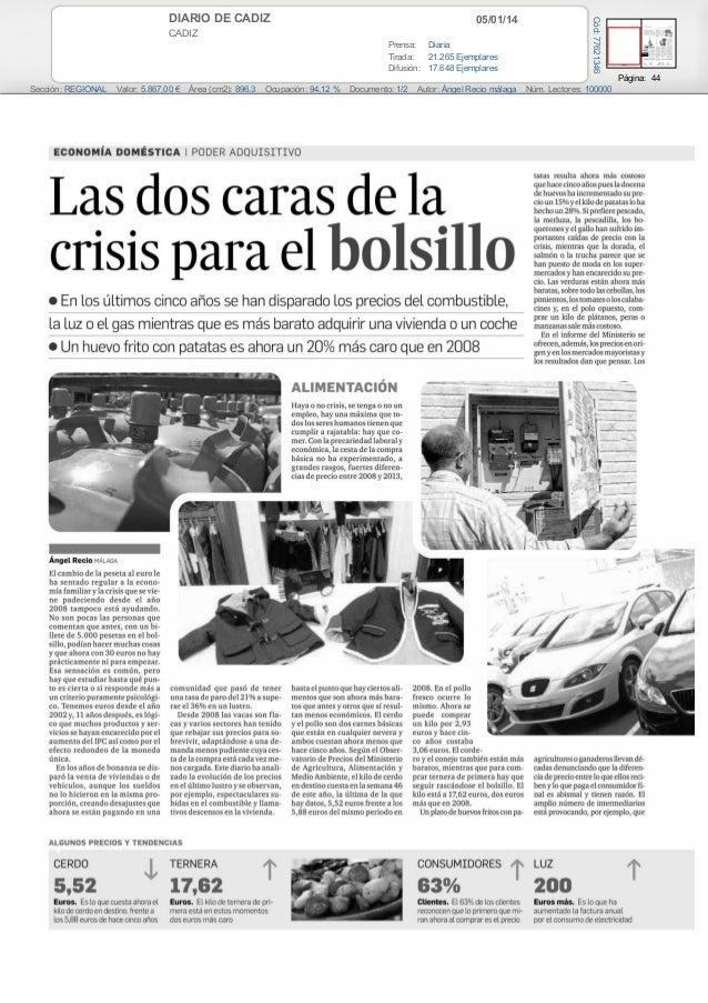 Las dos caras de la crisis paera el bolsillo (Diario de cadiz)