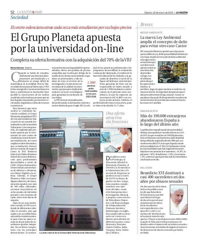 El Grupo Planeta amplía su oferta formativa (La Razón)