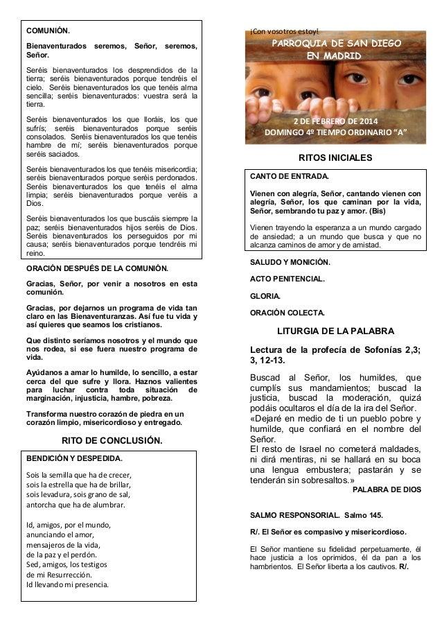 GUIÓN DELA MISA DEL DOMINGO IV DEL TO. CICLO A. Día 2 de febrero del 2014