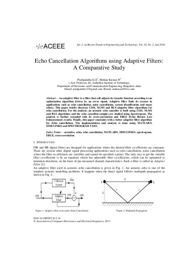 Int. J. on Recent Trends in Engineering and Technology, Vol. 10, No. 2, Jan 2014  Echo Cancellation Algorithms using Adapt...