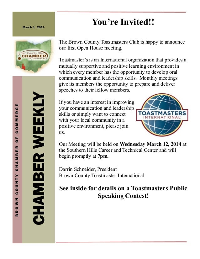 March 3, 2014  You're Invited!!  CHAMBER WEEKLY  BROWN COUNTY CHAMBER OF COMMERCE  The Brown County Toastmasters Club is h...
