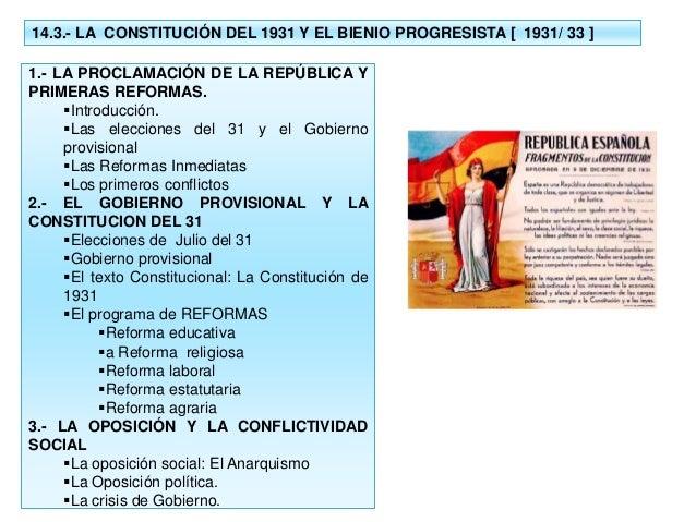 14.3.- LA CONSTITUCIÓN DEL 1931 Y EL BIENIO PROGRESISTA [ 1931/ 33 ] 1.- LA PROCLAMACIÓN DE LA REPÚBLICA Y PRIMERAS REFORM...