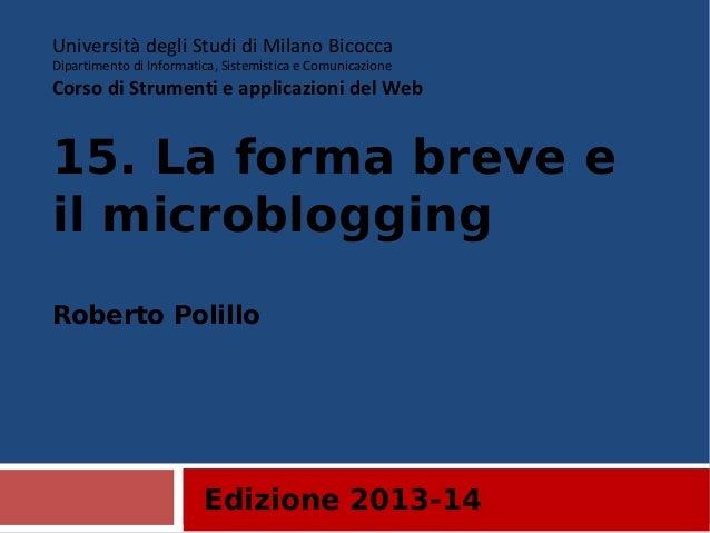 14. La forma breve e il microblogging