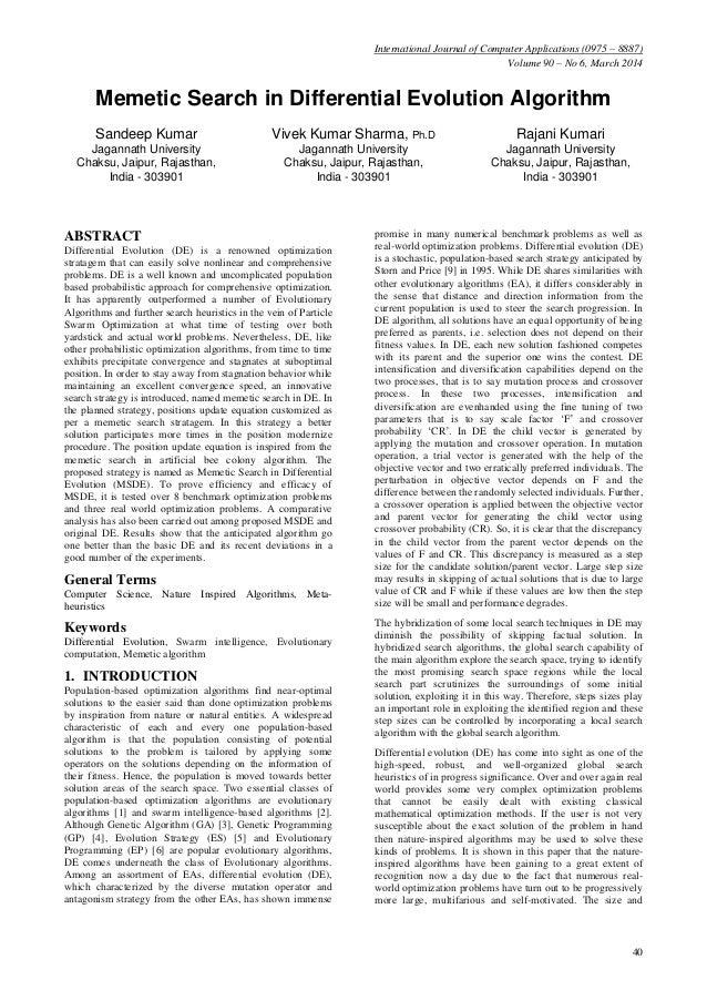 Memetic search in differential evolution algorithm