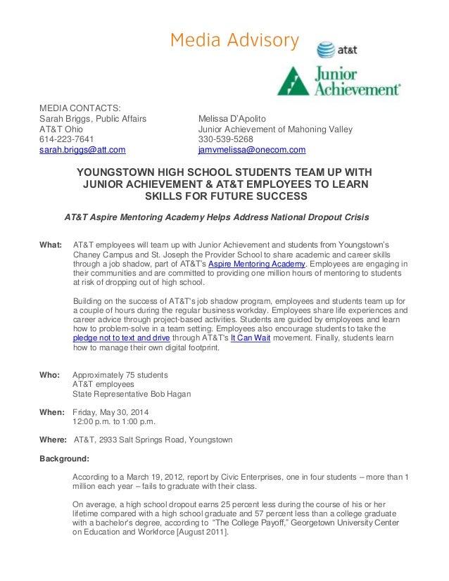 MEDIA CONTACTS: Sarah Briggs, Public Affairs Melissa D'Apolito AT&T Ohio Junior Achievement of Mahoning Valley 614-223-764...
