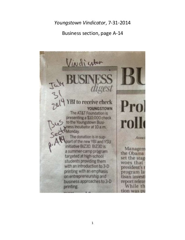 1 Youngstown Vindicator, 7-31-2014 Business section, page A-14