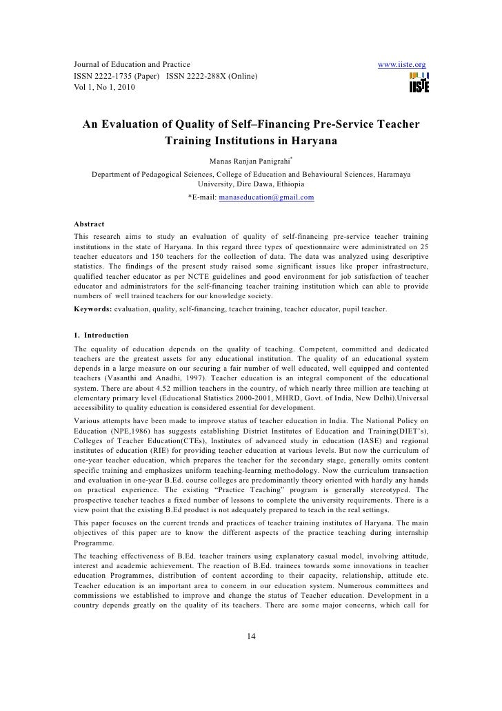 [14 24]an evaluation of quality of self–financing pre-service teacher training institutions in haryana