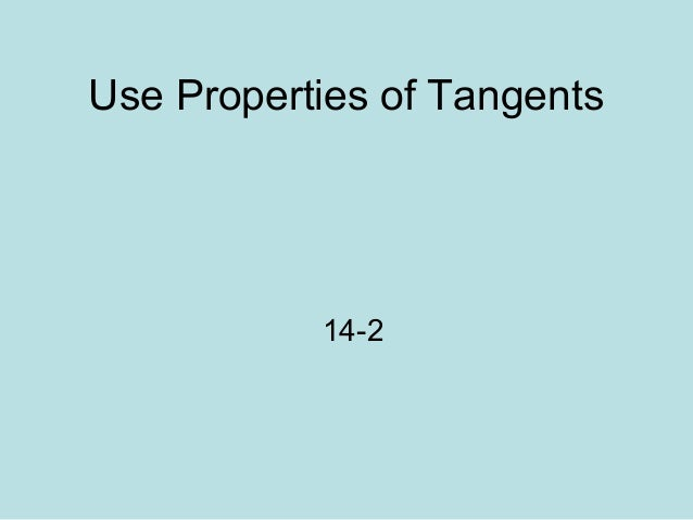 14 2 tangents to a circle lesson