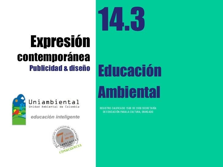 14.3  Expresióncontemporánea  Publicidad & diseño                        Educación                        Ambiental       ...