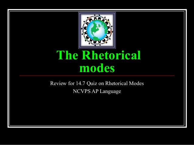 The Rhetorical     modesReview for 14.7 Quiz on Rhetorical Modes         NCVPS AP Language