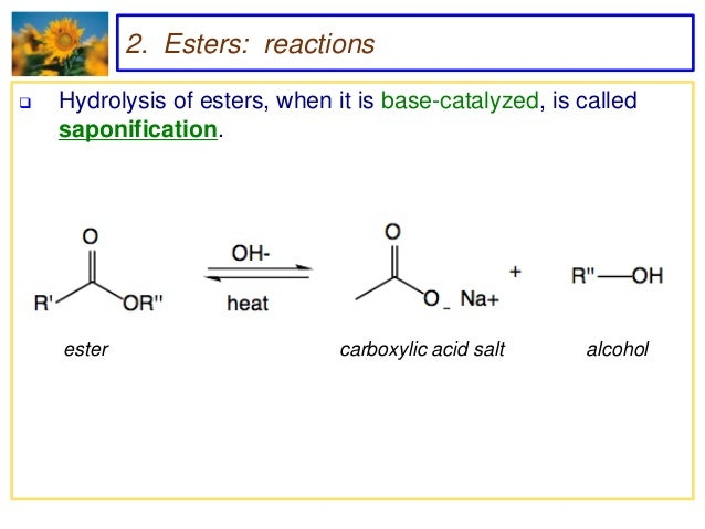 hydrolysis of esters A characteristic feature of the hydrolysis of esters and of most other organic compounds is that a third substance, ordinarily an acid or a base.