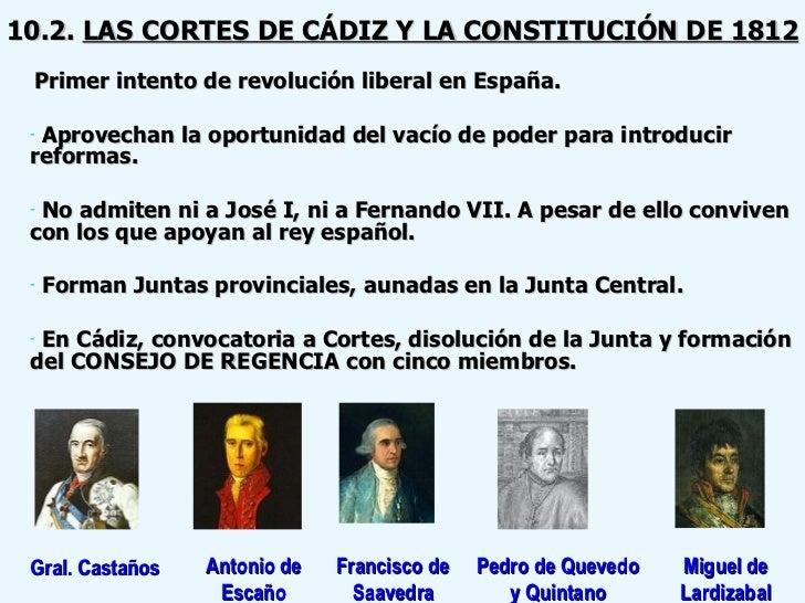 10.2.  LAS CORTES DE CÁDIZ Y LA CONSTITUCIÓN DE 1812 <ul><li>Primer intento de revolución liberal en España. </li></ul><ul...