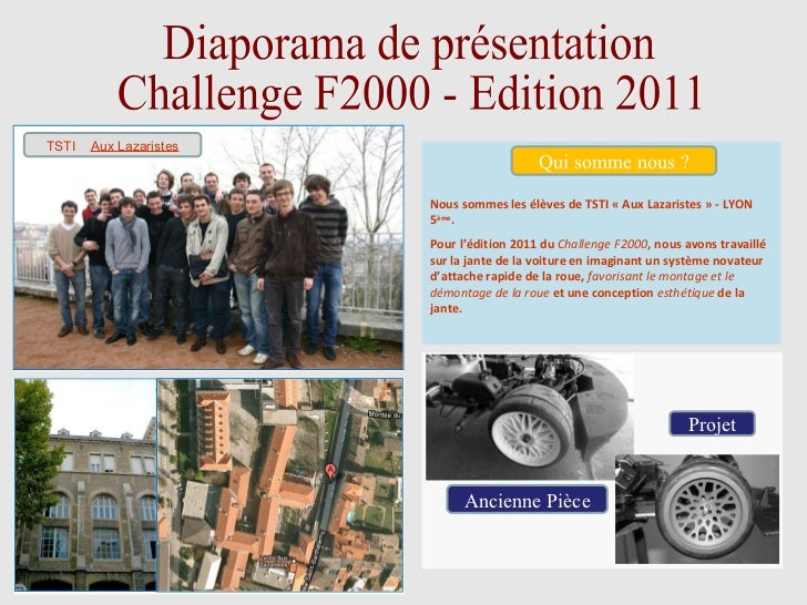 Diaporama de présentation Challenge F2000 - Edition 2011 PHOTO DE CLASSE Nous sommes les élèves de TSTI «Aux Lazaristes»...