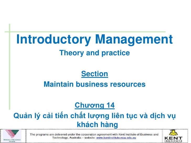 Introductory Management             Theory and practice                  Section        Maintain business resources       ...