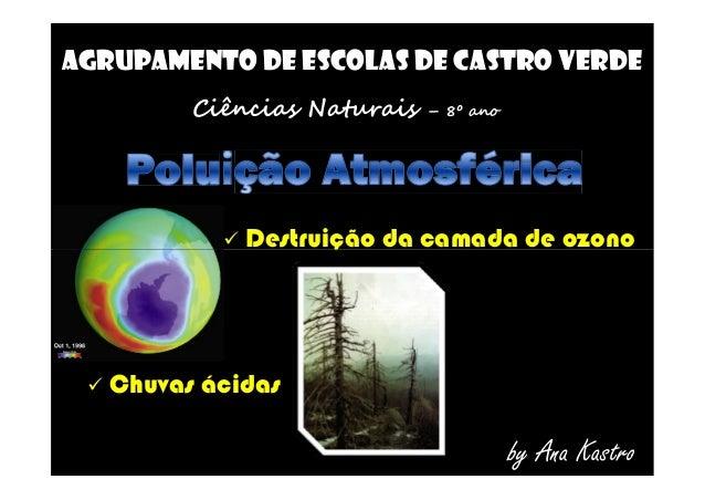 AGRUPAMENTO DE ESCOLAS DE CASTRO VERDE Ciências Naturais – 8º ano  Destruição da camada de ozono Destruição da camada de...