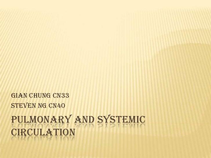 Gian Chung cn33Steven Ng cn40PULMONARY AND SYSTEMICCIRCULATION