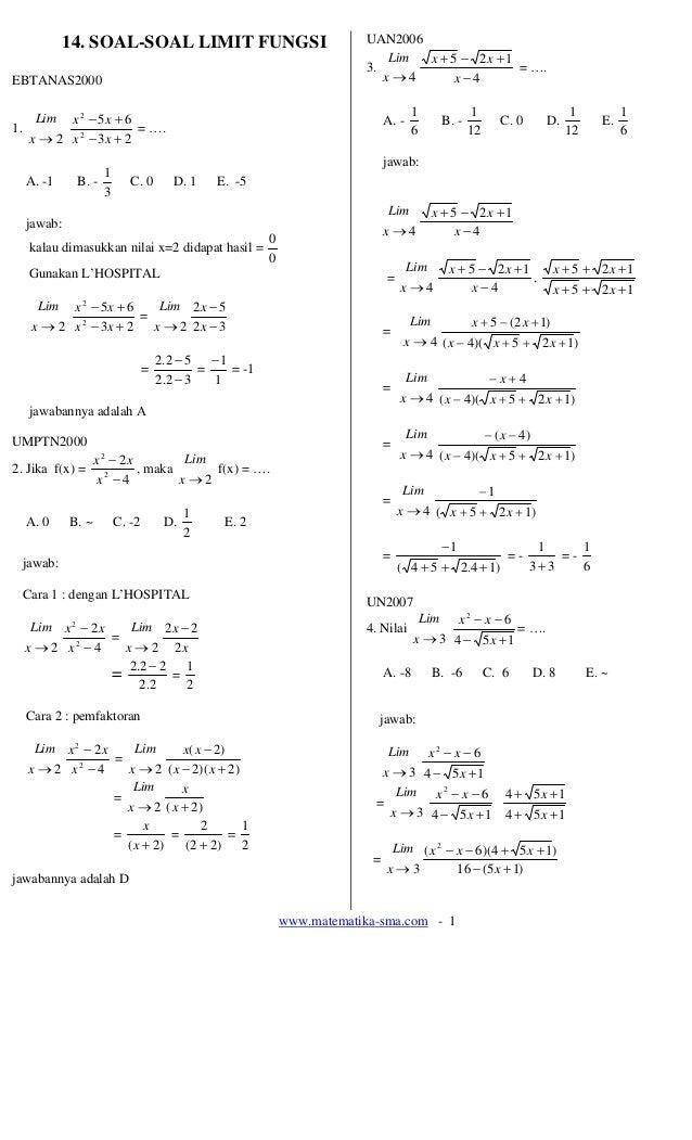 14. Soal-soal Limit Fungsi